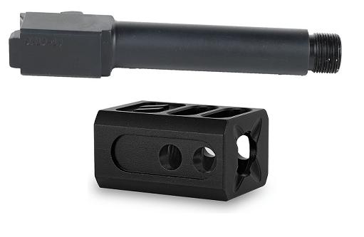 9MM Threaded Black Nitride Glock 19 Barrel and Compensator Combo